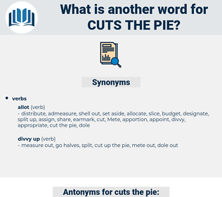 cuts the pie, synonym cuts the pie, another word for cuts the pie, words like cuts the pie, thesaurus cuts the pie