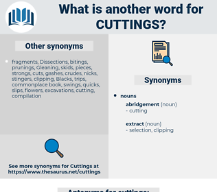 cuttings, synonym cuttings, another word for cuttings, words like cuttings, thesaurus cuttings