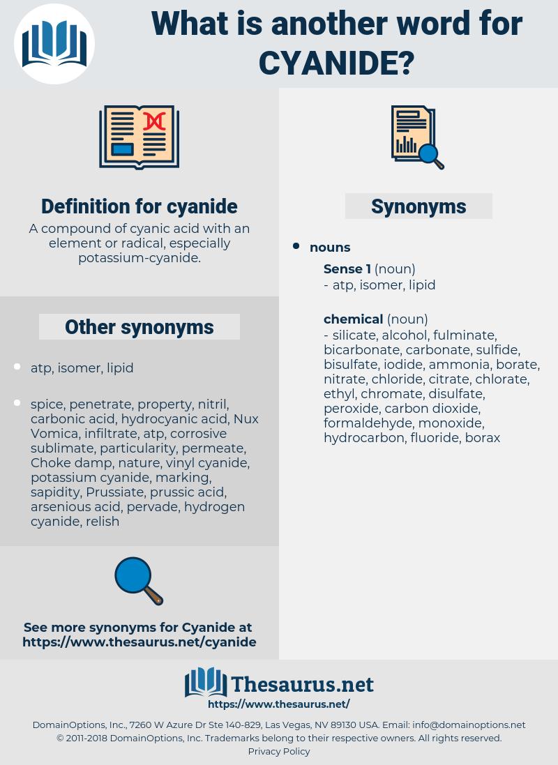 cyanide, synonym cyanide, another word for cyanide, words like cyanide, thesaurus cyanide