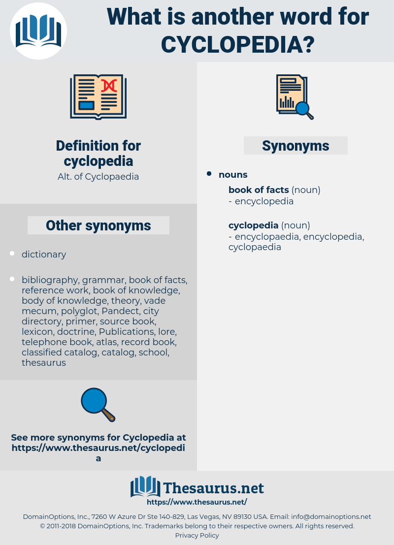 cyclopedia, synonym cyclopedia, another word for cyclopedia, words like cyclopedia, thesaurus cyclopedia