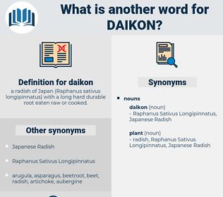 daikon, synonym daikon, another word for daikon, words like daikon, thesaurus daikon