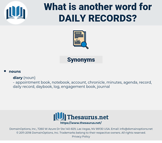 daily records, synonym daily records, another word for daily records, words like daily records, thesaurus daily records