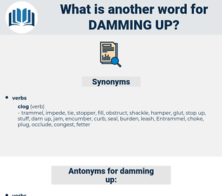 damming up, synonym damming up, another word for damming up, words like damming up, thesaurus damming up