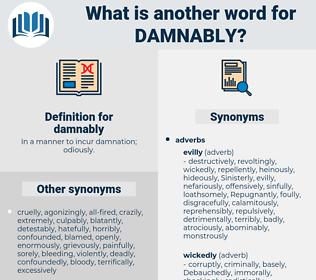 damnably, synonym damnably, another word for damnably, words like damnably, thesaurus damnably