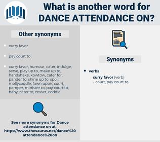 dance attendance on, synonym dance attendance on, another word for dance attendance on, words like dance attendance on, thesaurus dance attendance on