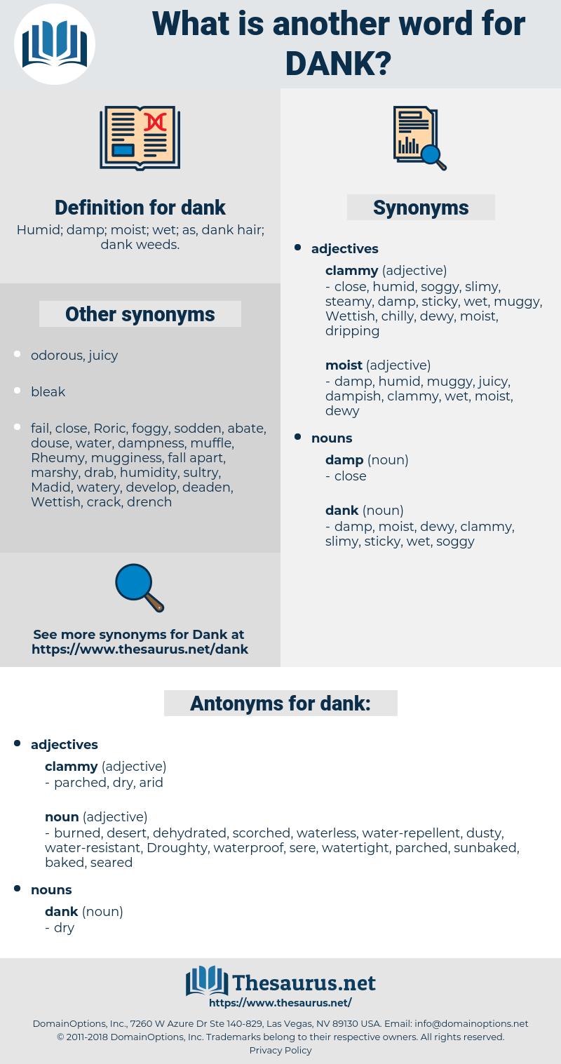 dank, synonym dank, another word for dank, words like dank, thesaurus dank