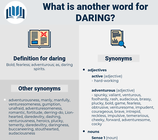 daring, synonym daring, another word for daring, words like daring, thesaurus daring