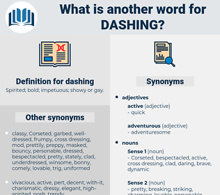 dashing, synonym dashing, another word for dashing, words like dashing, thesaurus dashing