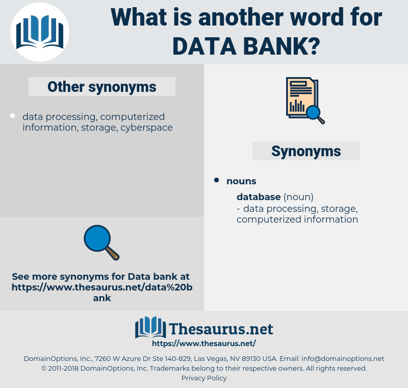 data bank, synonym data bank, another word for data bank, words like data bank, thesaurus data bank