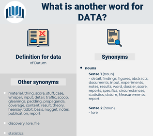 data, synonym data, another word for data, words like data, thesaurus data