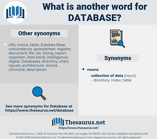database, synonym database, another word for database, words like database, thesaurus database