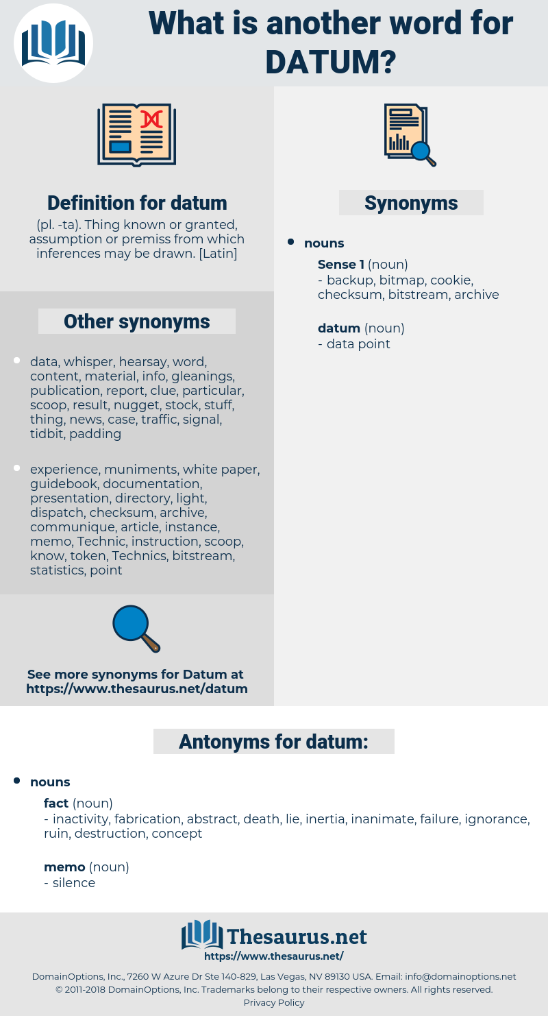 datum, synonym datum, another word for datum, words like datum, thesaurus datum