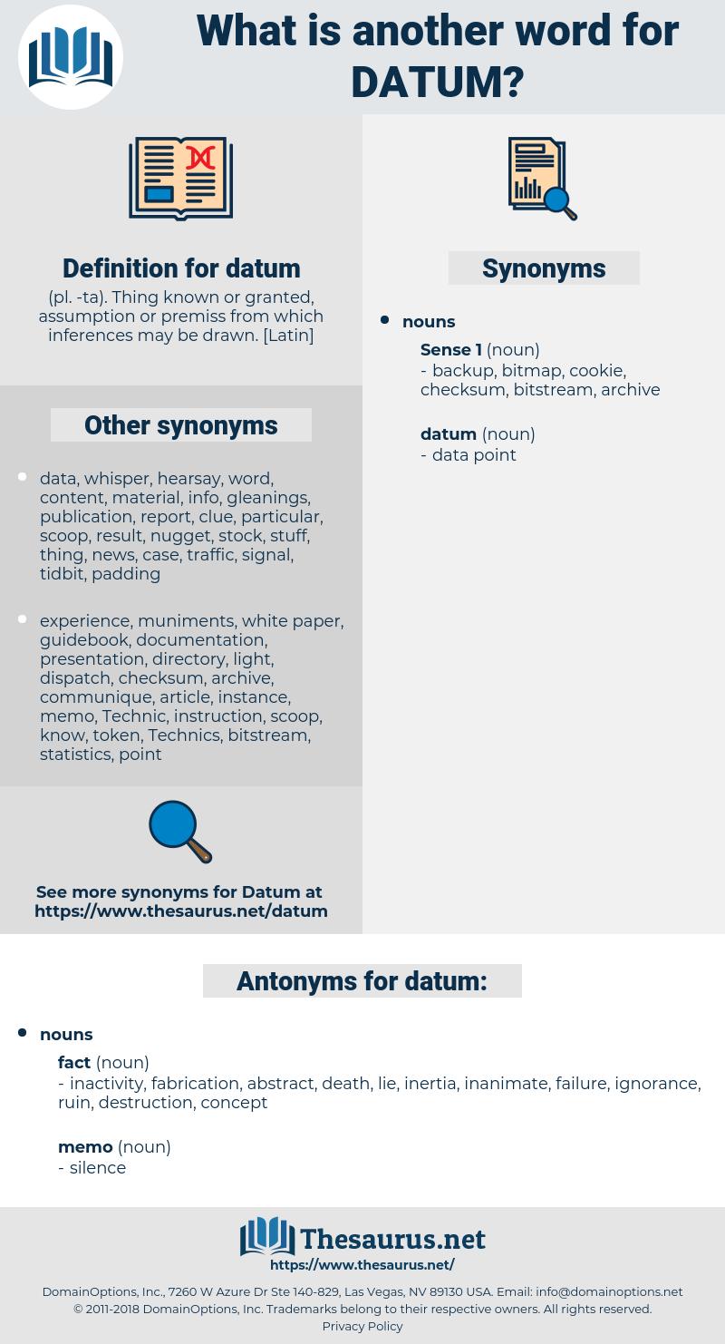 datum, synonym datum, another word for datum, words like datum, thesaurus datum