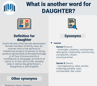daughter, synonym daughter, another word for daughter, words like daughter, thesaurus daughter