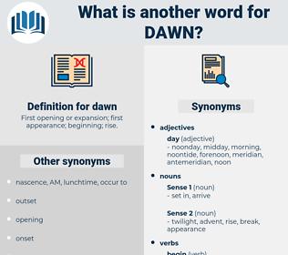 dawn, synonym dawn, another word for dawn, words like dawn, thesaurus dawn