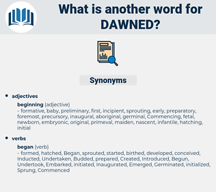 Dawned, synonym Dawned, another word for Dawned, words like Dawned, thesaurus Dawned