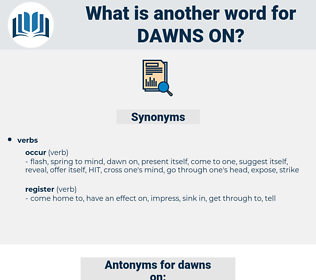 dawns on, synonym dawns on, another word for dawns on, words like dawns on, thesaurus dawns on