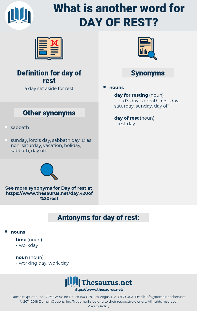 day of rest, synonym day of rest, another word for day of rest, words like day of rest, thesaurus day of rest