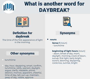 daybreak, synonym daybreak, another word for daybreak, words like daybreak, thesaurus daybreak
