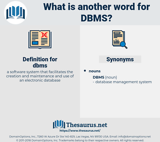 dbms, synonym dbms, another word for dbms, words like dbms, thesaurus dbms