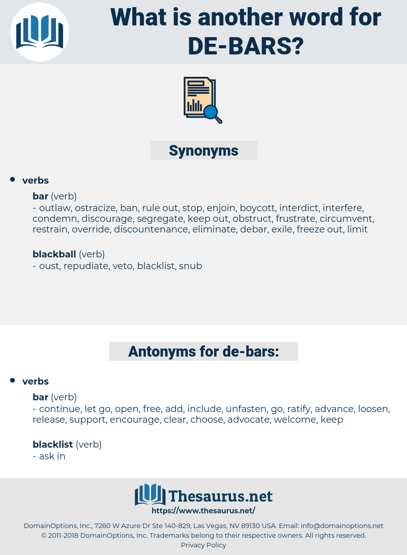 de bars, synonym de bars, another word for de bars, words like de bars, thesaurus de bars