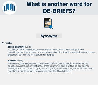 de-briefs, synonym de-briefs, another word for de-briefs, words like de-briefs, thesaurus de-briefs