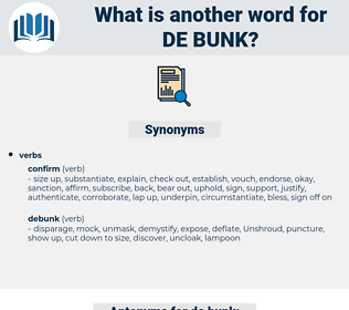 de-bunk, synonym de-bunk, another word for de-bunk, words like de-bunk, thesaurus de-bunk