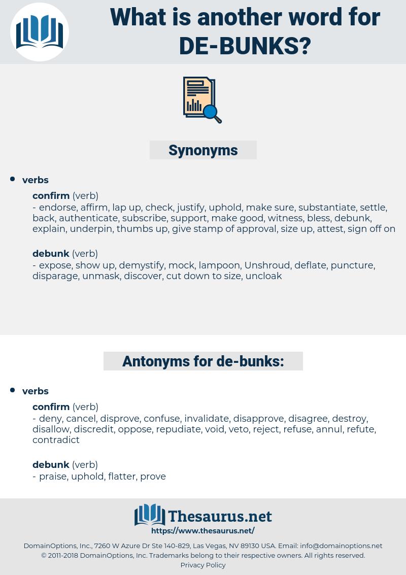 de bunks, synonym de bunks, another word for de bunks, words like de bunks, thesaurus de bunks