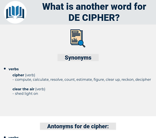 de-cipher, synonym de-cipher, another word for de-cipher, words like de-cipher, thesaurus de-cipher