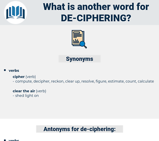 de-ciphering, synonym de-ciphering, another word for de-ciphering, words like de-ciphering, thesaurus de-ciphering