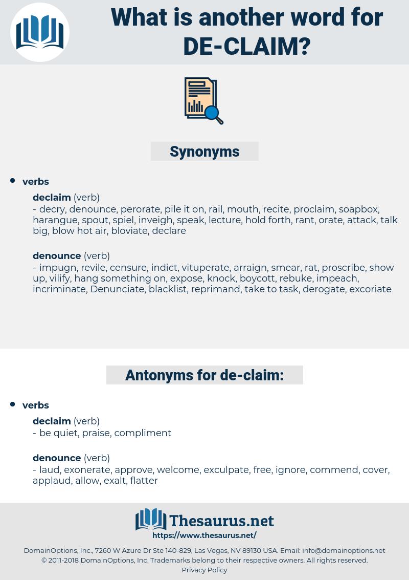 de claim, synonym de claim, another word for de claim, words like de claim, thesaurus de claim