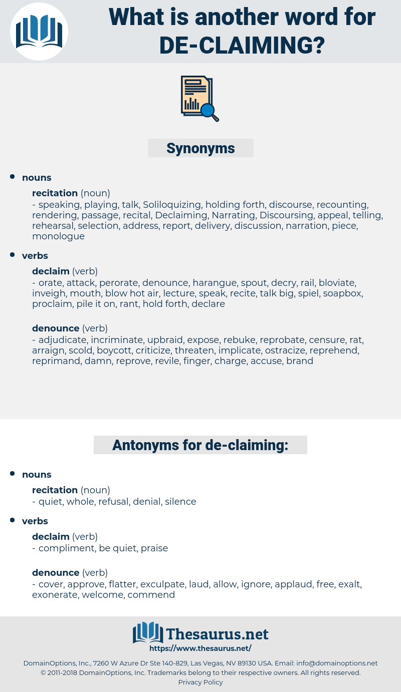 de-claiming, synonym de-claiming, another word for de-claiming, words like de-claiming, thesaurus de-claiming