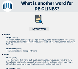 de clines, synonym de clines, another word for de clines, words like de clines, thesaurus de clines
