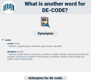 de code, synonym de code, another word for de code, words like de code, thesaurus de code