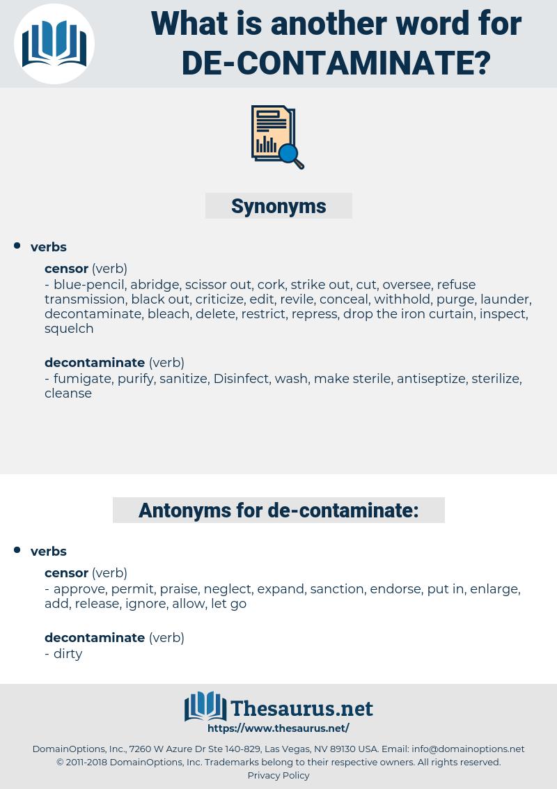 de-contaminate, synonym de-contaminate, another word for de-contaminate, words like de-contaminate, thesaurus de-contaminate