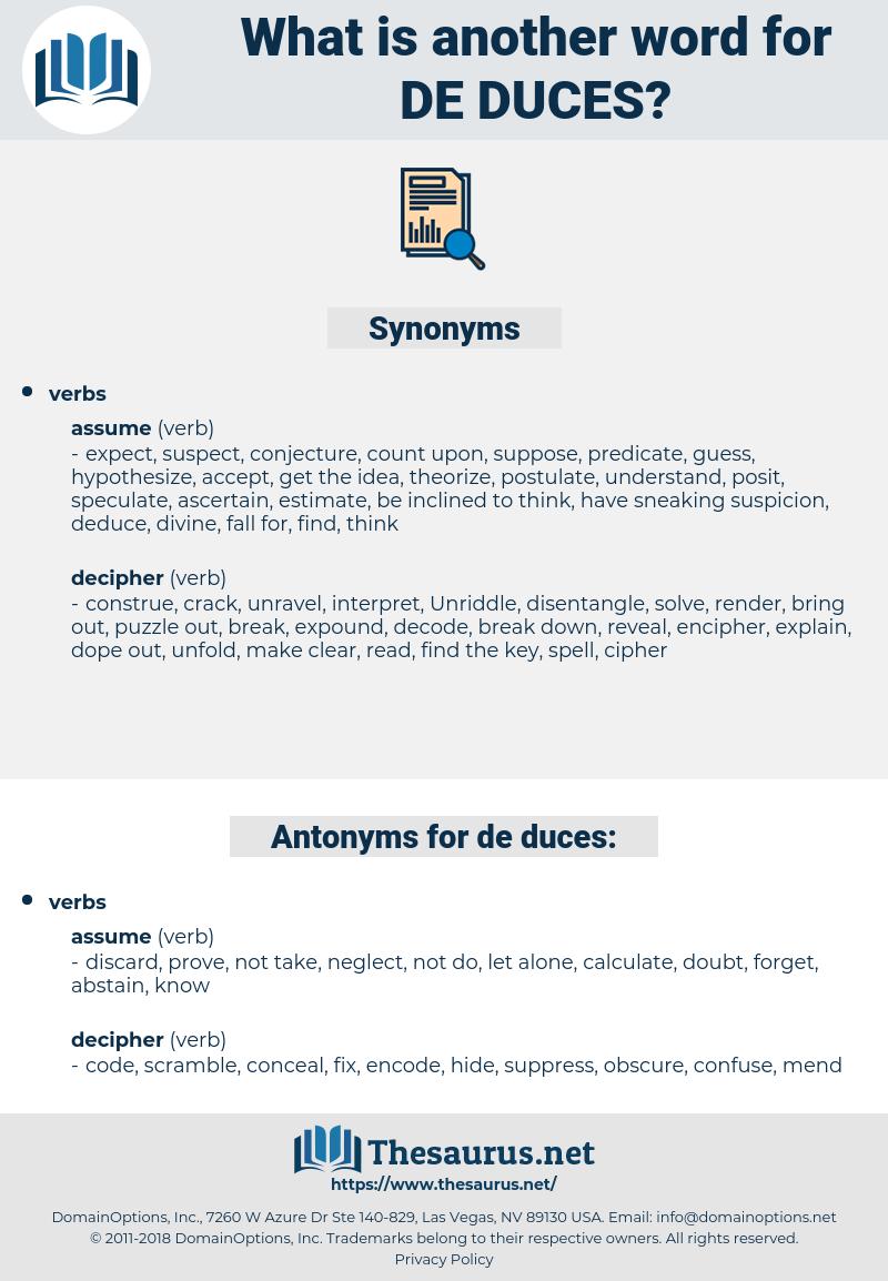 de duces, synonym de duces, another word for de duces, words like de duces, thesaurus de duces