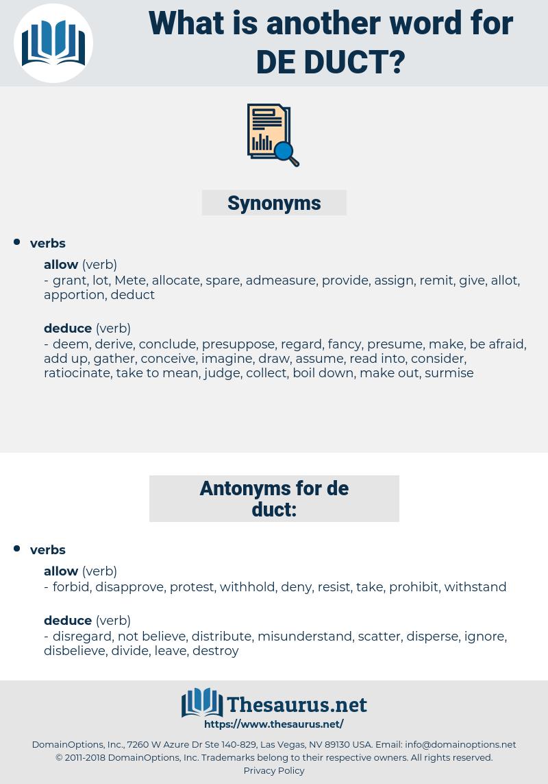 de-duct, synonym de-duct, another word for de-duct, words like de-duct, thesaurus de-duct