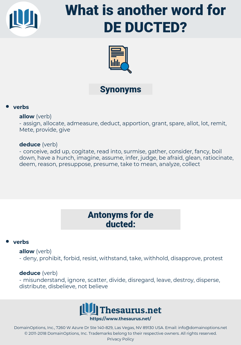de ducted, synonym de ducted, another word for de ducted, words like de ducted, thesaurus de ducted