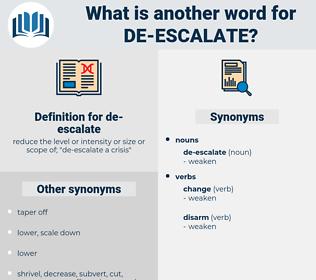 de-escalate, synonym de-escalate, another word for de-escalate, words like de-escalate, thesaurus de-escalate