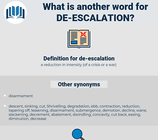de-escalation, synonym de-escalation, another word for de-escalation, words like de-escalation, thesaurus de-escalation