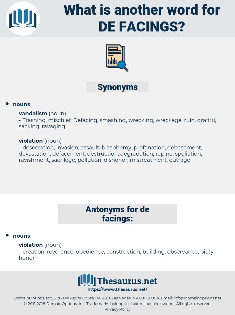 de facings, synonym de facings, another word for de facings, words like de facings, thesaurus de facings
