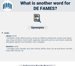 de-fames, synonym de-fames, another word for de-fames, words like de-fames, thesaurus de-fames