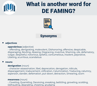 de-faming, synonym de-faming, another word for de-faming, words like de-faming, thesaurus de-faming