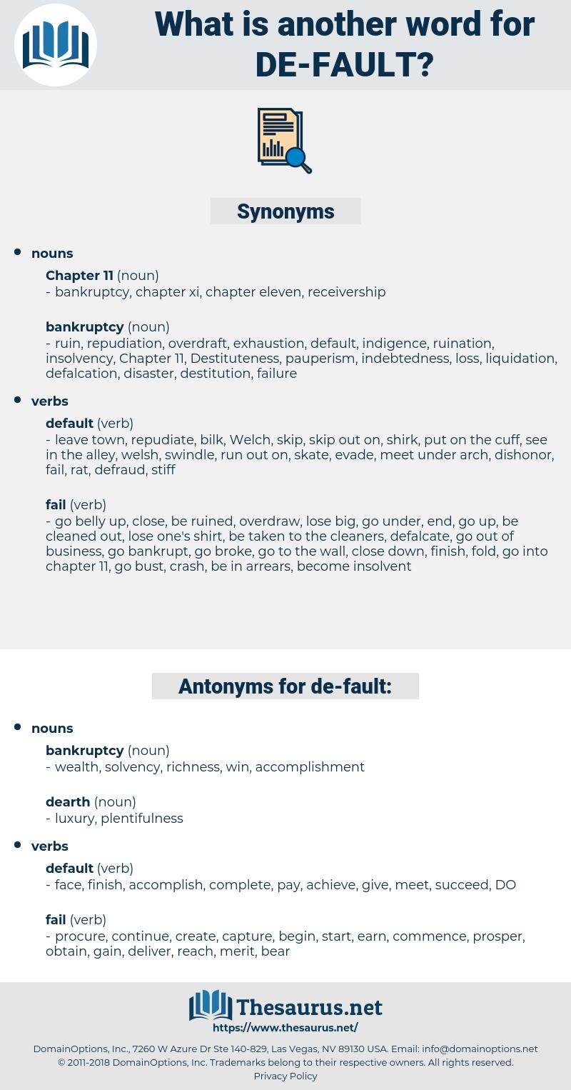de fault, synonym de fault, another word for de fault, words like de fault, thesaurus de fault