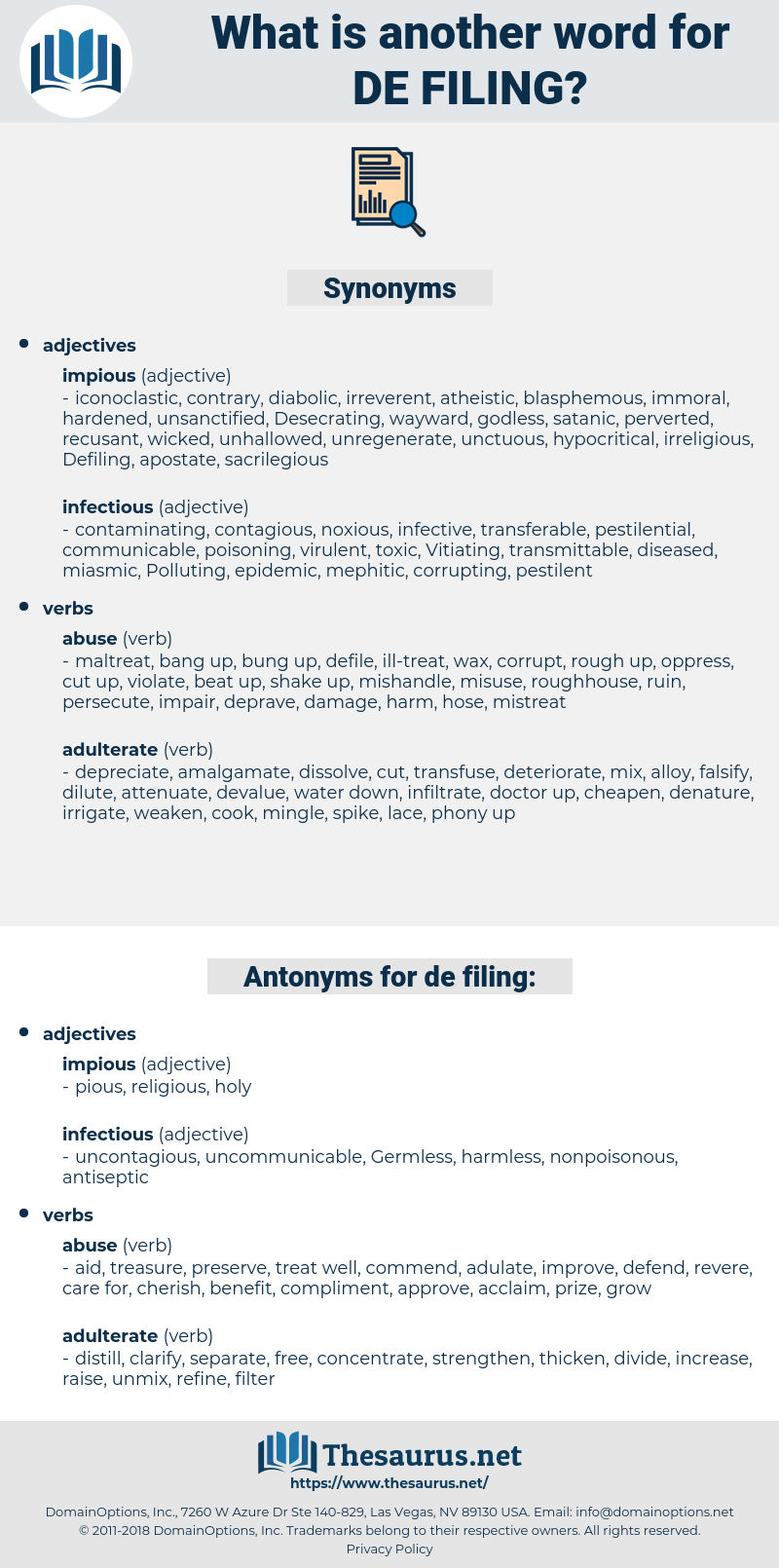 de-filing, synonym de-filing, another word for de-filing, words like de-filing, thesaurus de-filing