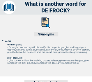 de-frock, synonym de-frock, another word for de-frock, words like de-frock, thesaurus de-frock