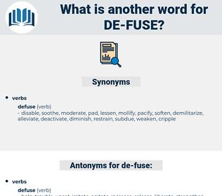 de-fuse, synonym de-fuse, another word for de-fuse, words like de-fuse, thesaurus de-fuse