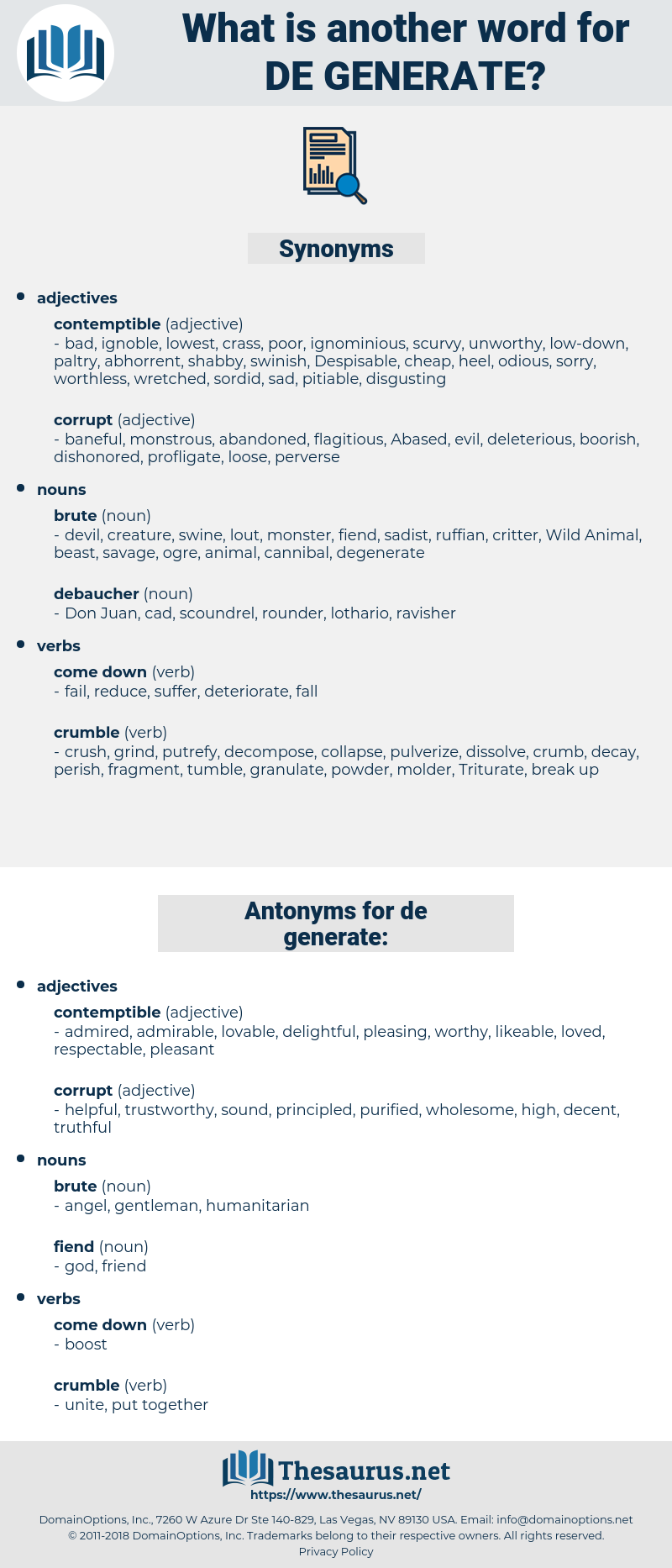 de generate, synonym de generate, another word for de generate, words like de generate, thesaurus de generate