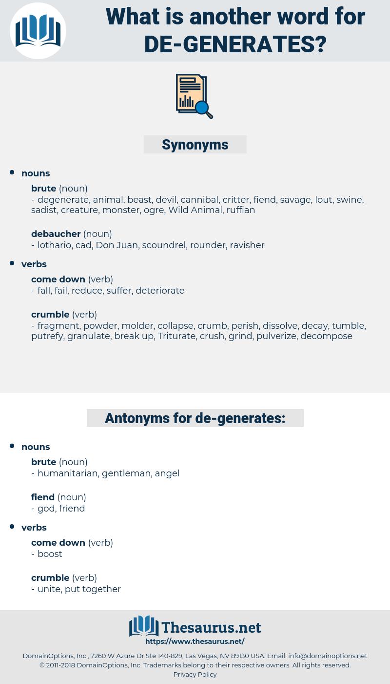 de generates, synonym de generates, another word for de generates, words like de generates, thesaurus de generates
