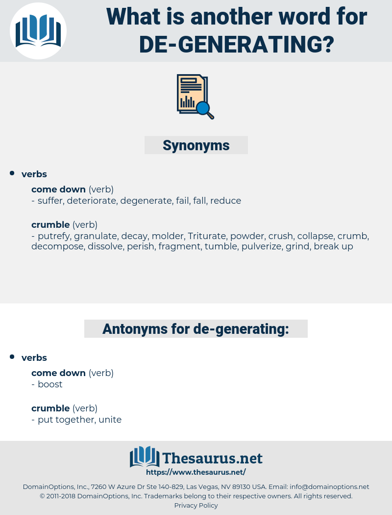 de generating, synonym de generating, another word for de generating, words like de generating, thesaurus de generating